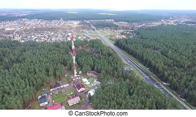 Flight Over The Highway, Tv Tower And Forest 6 - Aerial High...