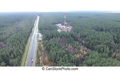 Flight Over The Highway, Tv Tower And Forest 1 - Aerial HD...