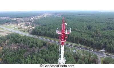 Flight Around Over The Highway, Tv Tower And Forest - Aerial...