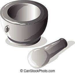 Stone mortar and pestle, cooking tool. Vector - Stone mortar...