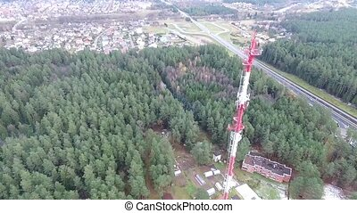 Flight Over The Highway, Tv Tower And Forest 7 - Aerial HD...