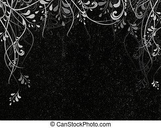 decorated granite - leaves decoration at black granite...