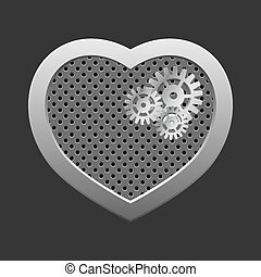 Concept heart with gears.