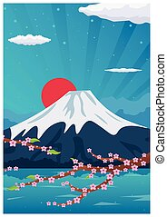 Travel poster to Japan. Vector flat illustration.