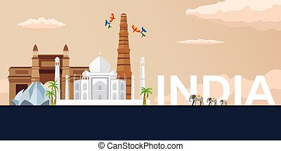 Travel banner to India. Vector flat illustration. - Travel...