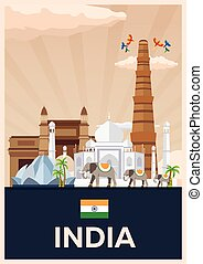Travel poster to India. Vector flat illustration. - Travel...