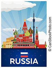 Travel poster to Russia. Vector flat illustration. - Travel...