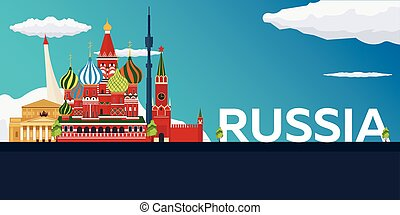 Travel banner to Russia. Vector flat illustration. - Travel...