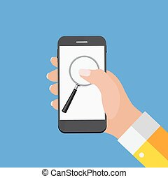 Hand with Abstract Phone and Search Icon. Template in Modern...