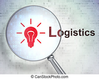 Business concept: Light Bulb and Logistics with optical glass