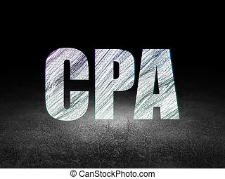 Business concept: CPA in grunge dark room - Business...