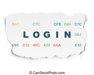 Protection concept: Login on Torn Paper background -...