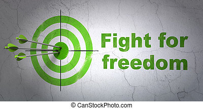 Politics concept: target and Fight For Freedom on wall...