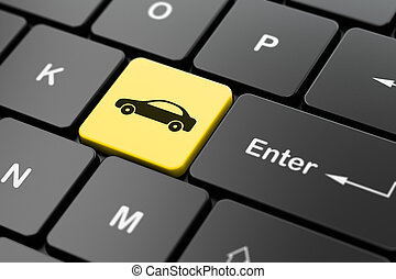 Vacation concept: Car on computer keyboard background -...