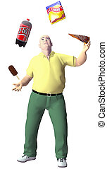 Obese man juggles junk snack food - An obese junk food...
