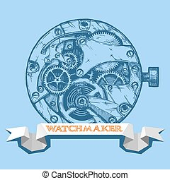 Signboard of watchmaker with clockwork - Vector ink hand...