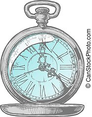 Antique pocket watch. - Vector ink hand drawn illustration...