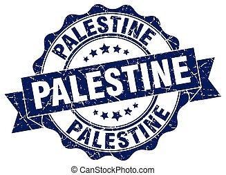 Palestine round ribbon seal