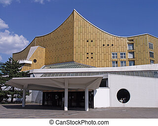 Berlin Philharmonics - Facade of the Berlin Philharmonic...
