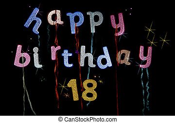 Happy 18th Birthday party banner in colorful glitter letters...