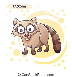 Drawn Cartoon Raccoon - Cartoon raccoon hand-drawn. On a...