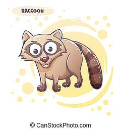 Drawn Cartoon Raccoon - Cartoon raccoon hand-drawn. On a...