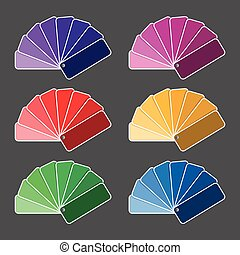 Set of six color palette - purple, pink, red, yellow, green...