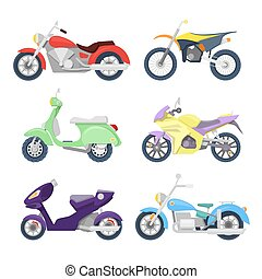 Motorcycles Icons Set with Retro, Sport Bike and Scooter. Vector illustration