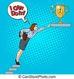 Pop Art Business Woman Hard Trying to Reach the Goal. Vector illustration