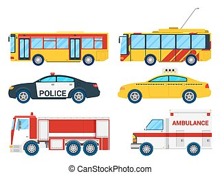 City Transportation Set with Bus, Trolley and Taxi. Vector illustration