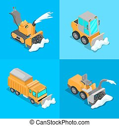 Isometric Snow Removal Transportation Set with Snowplow...
