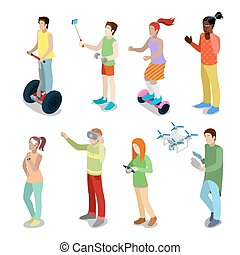 Isometric People with Modern Devices Segway, Drone,...