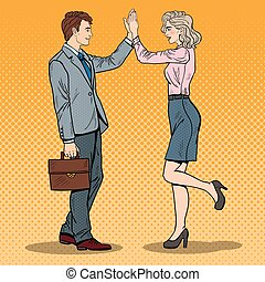 Pop Art Businessman Giving High Five to Business Woman. Vector illustration