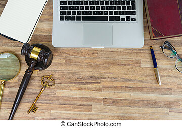 Workspace hero header with law gawel, legal book and laptop...