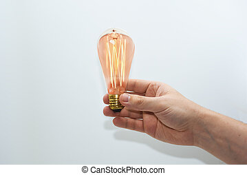 Abstract idea of electric lamp 35W. Isolated on white...