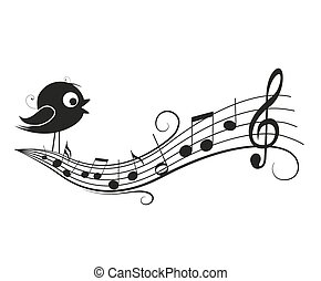 Musical notes with bird - Vector illustration of a music...