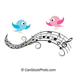 Musical notes with birds - Vector illustration of a music...