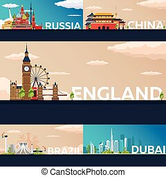 Big Collection of Travel banners to country. Vecor Flat...
