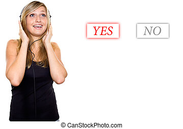 Young woman makes a choice - Young woman with headphones...