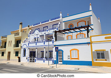 Colorful houses in the Algarve, Portugal