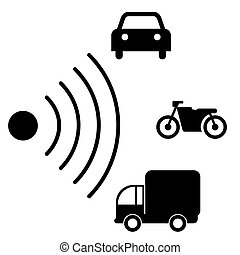 Speed road radar icon. Notice traffic symbol isolated on white with different types of vehicles. Truck, motorcycle, car black silhouettes. Vector illustration