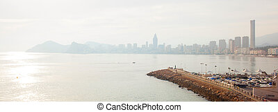 view from the city of Benidorm, Costa Blanca, - A view from...