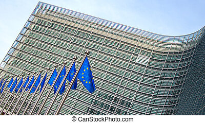 European flags in front of the Berlaymont building - Flags...