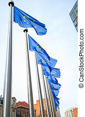 Flags in front of the EU Commission building - European...