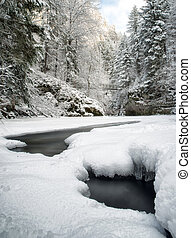 Frozen river in winter forest - Frozen river Hornad in...