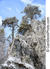 Rock formations in Slovak paradise - Rock formations with...