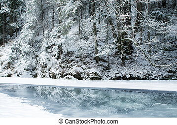 Frozen river in winter forest - Frozen river Hornad in snowy...