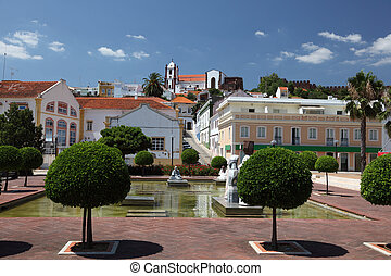 Square in ancient town Silves, Algarve Portugal
