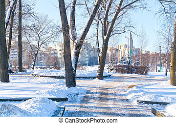 Minsk. Starostinskaya Sloboda Square - Snow-covered alley in...