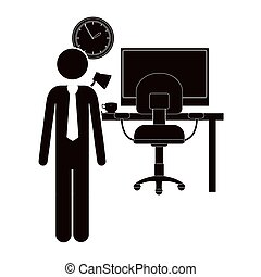 black silhouette man administrator in office vector...